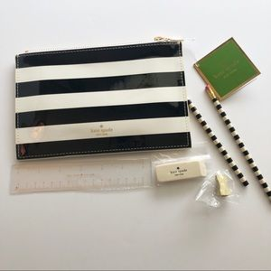 kate spade Bags - NWT kate spade Black Stripe Pencil Case w/Supplies